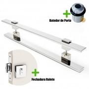 Puxador Porta (LUMA) Aço Inox Polido + fechadura rolete inox polido +Batedor de porta polido