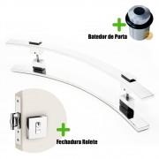 Puxador Porta (PAOLA) Aço Inox Polido + fechadura rolete inox polido +Batedor de porta polido