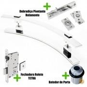 Puxador Porta (PAOLA) Aço Inox Polido + fechadura rolete inox polido +Batedor de porta polido + Dobradiça pivotante com rolamento 100kg
