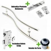 Puxador Porta (SAFIRA) Aço Inox Polido + fechadura rolete inox polido +Batedor de porta polido +Dobradiça pivotante rolamento 100kg