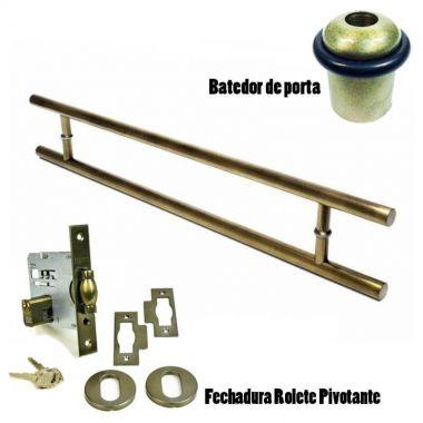 KIT Puxador Porta (SOFT) Aço Inox ouro velho + fechadura rolete pivotante ouro velho antique +Batedor/amortecedor porta ouro velho