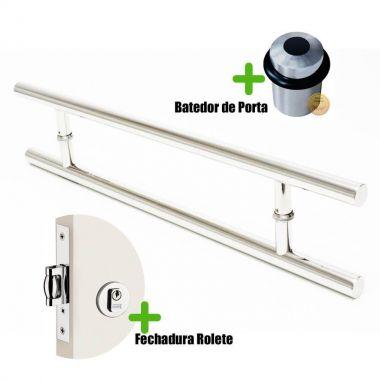 Puxador Porta (SOFT) Aço Inox Polido + fechadura rolete inox polido +Batedor de porta polido