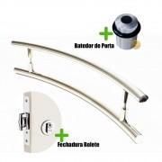 Puxador Porta (SOLARES) Aço Inox Polido + fechadura rolete inox polido +Batedor de porta polido