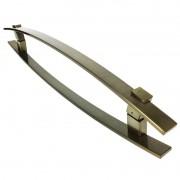 Puxador Portas Duplo Aço Inox Antique Ouro Velho Alba 60 cm para portas: pivotantes/madeira/vidro temperado/porta alumínio e portões