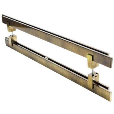 Puxador Portas Duplo Aço Inox Antique Ouro Velho Aquarius 3 m para portas: pivotantes/madeira/vidro temperado/porta alumínio e portões