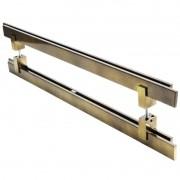Puxador Portas Duplo Aço Inox Antique Ouro Velho Aquarius 50 cm para portas: pivotantes/madeira/vidro temperado/porta alumínio e portões