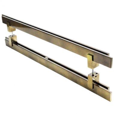 Puxador Portas Duplo Aço Inox Antique Ouro Velho Aquarius 80 cm para portas: pivotantes/madeira/vidro temperado/porta alumínio e portões