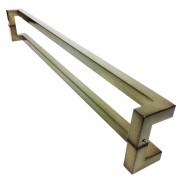 Puxador Portas Duplo Aço Inox Antique Ouro Velho Athenas 1,8 m para portas: pivotantes/madeira/vidro temperado/porta alumínio e portões