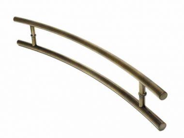 Puxador Portas Duplo Aço Inox Antique Ouro Velho Belissima 80 cm para portas: pivotantes/madeira/vidro temperado/porta alumínio e portões
