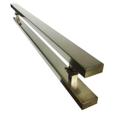 Puxador Portas Duplo Aço Inox Antique Ouro Velho Grand Clean 2,5 m para portas: pivotantes/madeira/vidro temperado/porta alumínio e portões