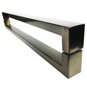 Puxador Portas Duplo Aço Inox Antique Ouro Velho Hércules 80 cm para portas: pivotantes/madeira/vidro temperado/porta alumínio e portões