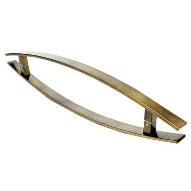 Puxador Portas Duplo Aço Inox Antique Ouro Velho Lugui 40 cm para portas: pivotantes/madeira/vidro temperado/porta alumínio e portões