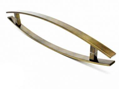 Puxador Portas Duplo Aço Inox Antique Ouro Velho Lugui 70 cm para portas: pivotantes/madeira/vidro temperado/porta alumínio e portões