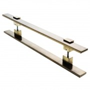 Puxador Portas Duplo Aço Inox Antique Ouro Velho Luma 1,5 m para portas: pivotantes/madeira/vidro temperado/porta alumínio e portões