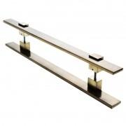 Puxador Portas Duplo Aço Inox Antique Ouro Velho Luma 50 cm para portas: pivotantes/madeira/vidro temperado/porta alumínio e portões