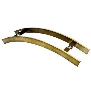 Puxador Portas Duplo Aço Inox Antique Ouro Velho Novita 80 cm para portas: pivotantes/madeira/vidro temperado/porta alumínio e portões.