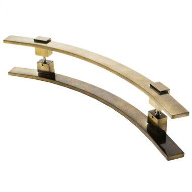 Puxador Portas Duplo Aço Inox Antique Ouro Velho Paola 1,5 m para portas: pivotantes/madeira/vidro temperado/porta alumínio e portões.