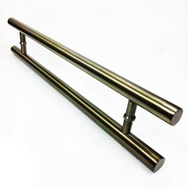 Puxador Portas Duplo Aço Inox Antique Ouro Velho Pleno 50 cm para portas: pivotantes/madeira/vidro temperado/porta alumínio e portões