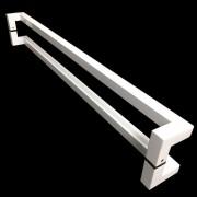 Puxador Portas Duplo Aço Inox Branco Athenas 60 cm para portas: pivotantes/madeira/vidro temperado/porta alumínio e portões
