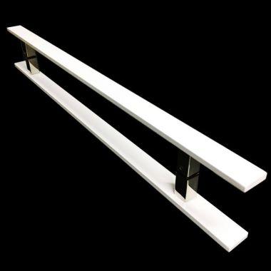 Puxador Portas Duplo Aço Inox Branco Clean 1 m para portas: pivotantes/madeira/vidro temperado/porta alumínio e portões