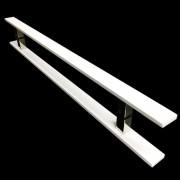 Puxador Portas Duplo Aço Inox Branco Clean 40 cm para portas: pivotantes/madeira/vidro temperado/porta alumínio e portões