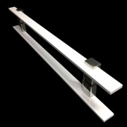 Puxador Portas Duplo Aço Inox Branco Luma 40 cm para portas: pivotantes/madeira/vidro temperado/porta alumínio e portões