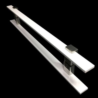 Puxador Portas Duplo Aço Inox Branco Luma 60 cm para portas: pivotantes/madeira/vidro temperado/porta alumínio e portões