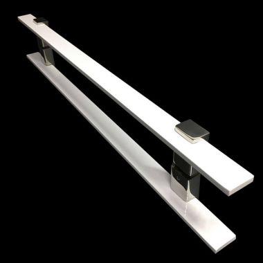 Puxador Portas Duplo Aço Inox Branco Luma 70 cm para portas: pivotantes/madeira/vidro temperado/porta alumínio e portões