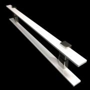 Puxador Portas Duplo Aço Inox Branco Luma 90 cm para portas: pivotantes/madeira/vidro temperado/porta alumínio e portões