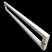 Puxador Portas Duplo Aço Inox Branco Slin 1,1 m para portas: pivotantes/madeira/vidro temperado/porta alumínio e portões