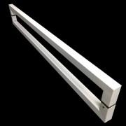Puxador Portas Duplo Aço Inox Branco Slin 40 cm para portas: pivotantes/madeira/vidro temperado/porta alumínio e portões