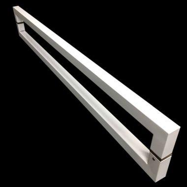 Puxador Portas Duplo Aço Inox Branco Slin 60 cm para portas: pivotantes/madeira/vidro temperado/porta alumínio e portões