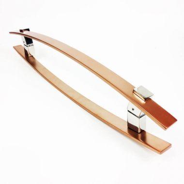 Puxador Portas Duplo Aço Inox Cobre Acetinado Alba 60 cm para portas: pivotantes/madeira/vidro temperado/porta alumínio e portões