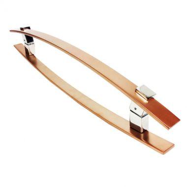 Puxador Portas Duplo Aço Inox Cobre Acetinado Alba 90 cm para portas: pivotantes/madeira/vidro temperado/porta alumínio e portões