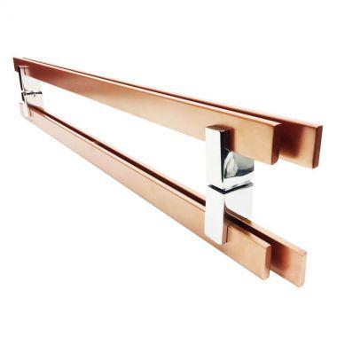 Puxador Portas Duplo Aço Inox Cobre Acetinado Aquarius 2,5 m para portas: pivotantes/madeira/vidro temperado/porta alumínio e portões
