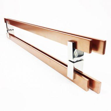 Puxador Portas Duplo Aço Inox Cobre Acetinado Aquarius 50 cm para portas: pivotantes/madeira/vidro temperado/porta alumínio e portões