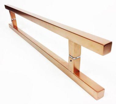 Puxador Portas Duplo Aço Inox Cobre Acetinado Aristocrata 40 cm para portas: pivotantes/madeira/vidro temperado/porta alumínio e portões