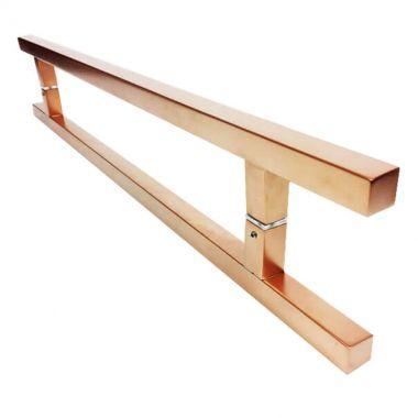 Puxador Portas Duplo Aço Inox Cobre Acetinado Aristocrata 50 cm para portas: pivotantes/madeira/vidro temperado/porta alumínio e portões