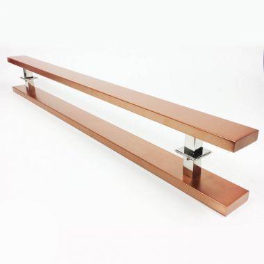 Puxador Portas Duplo Aço Inox Cobre Acetinado Grand Clean 90 cm para portas: pivotantes/madeira/vidro temperado/porta alumínio e portões