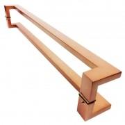 Puxador Portas Duplo Aço Inox Cobre Acetinado Grécia 40 cm para portas: pivotantes/madeira/vidro temperado/porta alumínio e portões