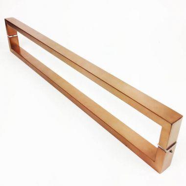 Puxador Portas Duplo Aço Inox Cobre Acetinado Greco 50 cm para portas: pivotantes/madeira/vidro temperado/porta alumínio e portões