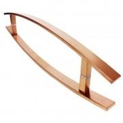 Puxador Portas Duplo Aço Inox Cobre Acetinado Lugui 40 cm para portas: pivotantes/madeira/vidro temperado/porta alumínio e portões