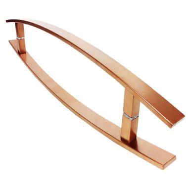 Puxador Portas Duplo Aço Inox Cobre Acetinado Lugui 50 cm para portas: pivotantes/madeira/vidro temperado/porta alumínio e portões
