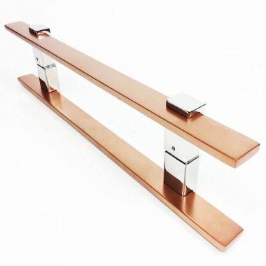 Puxador Portas Duplo Aço Inox Cobre Acetinado Luma 2 m para portas: pivotantes/madeira/vidro temperado/porta alumínio e portões