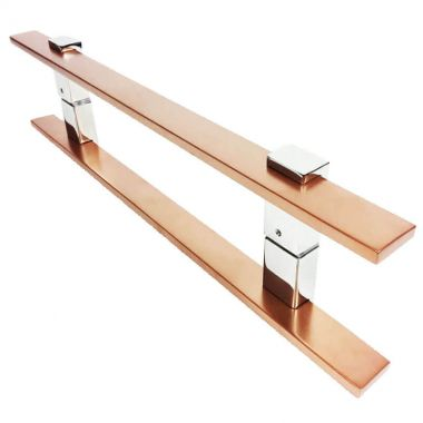Puxador Portas Duplo Aço Inox Cobre Acetinado Luma 40 cm para portas: pivotantes/madeira/vidro temperado/porta alumínio e portões