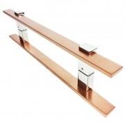 Puxador Portas Duplo Aço Inox Cobre Acetinado Luma 60 cm para portas: pivotantes/madeira/vidro temperado/porta alumínio e portões