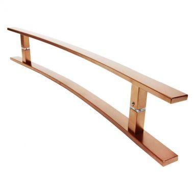 Puxador Portas Duplo Aço Inox Cobre Acetinado Novita 1,1 m para portas: pivotantes/madeira/vidro temperado/porta alumínio e portões.