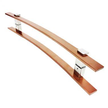 Puxador Portas Duplo Aço Inox Cobre Acetinado Paola 1,1 m para portas: pivotantes/madeira/vidro temperado/porta alumínio e portões.