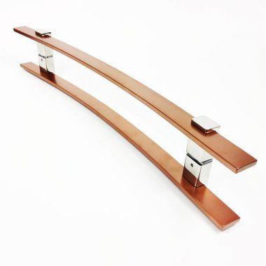 Puxador Portas Duplo Aço Inox Cobre Acetinado Paola 1,2 m para portas: pivotantes/madeira/vidro temperado/porta alumínio e portões.