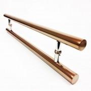 Puxador Portas Duplo Aço Inox Cobre Acetinado Pleno 90 cm para portas: pivotantes/madeira/vidro temperado/porta alumínio e portões